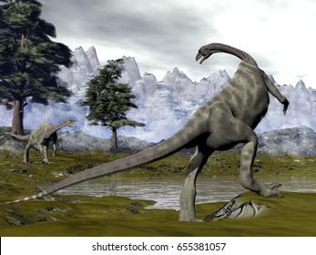 Anchisaurus dinosaurs - 3D render