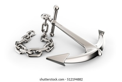 Anchor with chain isolated on white background 3D illustration