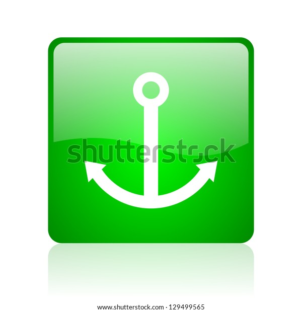 anchor green square web icon on white background