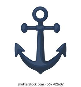 Anchor icon in cartoon style isolated on white background. Pirates symbol stock bitmap, rastr illustration.