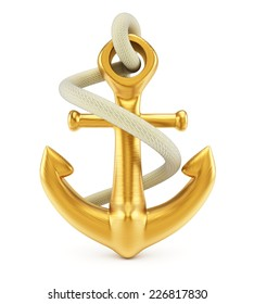Anchor isolated on white background. 3d rendering image