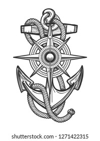 Anchor with ropes and Nautical vintage compass drawn in engraving style.  illustration.