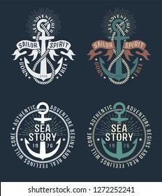 Anchor sea nautical color logo retro style