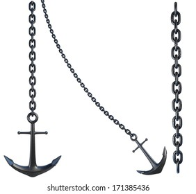 Anchors with Chain isolated on White Background. 3D illustration