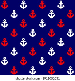 Anchors. Nautical seamless patterns. Red, white and blue background. Template for fabric or wrapping. Sea. Ocean. Sailor. Marine. Patriotic background.