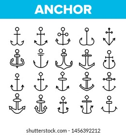 Anchors, Ship Equipment Linear Icons Set. Vessel Old Anchor, Sailing Outline Symbols Pack. Cruise, Marine Shipping And Transportation. Nautical, Maritime Isolated Contour Illustrations