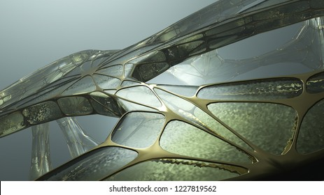 Ancient alien structure or spaceship. 3D strange dark object made by old crystal and gold. Realistic attractive texture. Science, technology and engineering concept. 3D rendering.