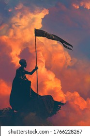 Ancient alien as a wizard on a sunset red light in front of a epic big cloud holding a flag amulet with rune - concept art - 3D rendering
