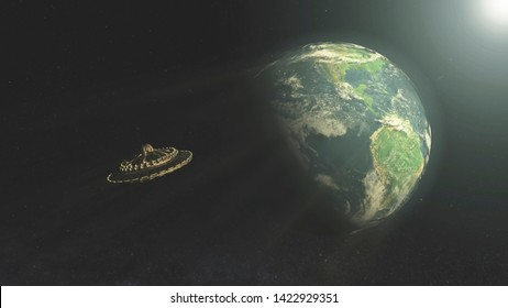 Ancient Aliens, Close Encounters of the Third Kind, Ancient UFO flying saucers travel to earth, Ancient Alien in earth planet, CGI, 3D Render