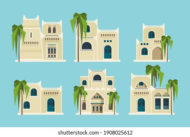 Ancient arabic houses. Old traditional muslim brick buildings desert architectural objects mosque flat collection