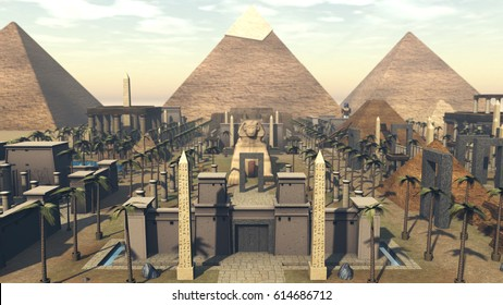 Ancient architecture in a city of Egypt. 3D rendering
