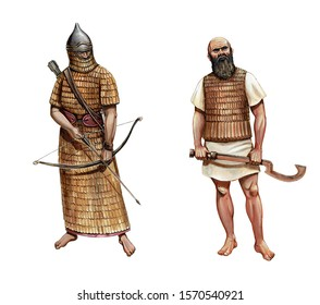 Ancient assyrian warriors. Armoured soldier illustration. Historical illustration.