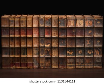 Ancient books on shelf.