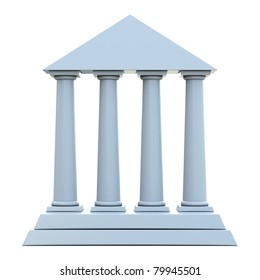 Ancient building with 4 columns isolated on white background