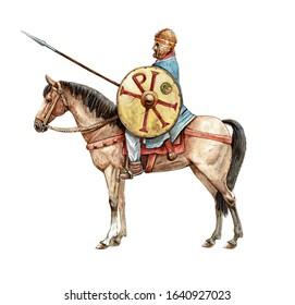 Ancient byzantine rider. Ancient warrior on horseback. Chi Rho on the knight's shield. Book Illustration.