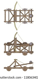 ancient catapult isolated on white. 3d rendeing