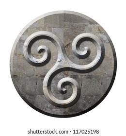 Ancient celtic triskele symbol on carved stone circle