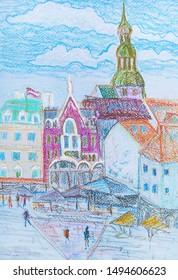 ancient centre of Riga, capital of Latvia,