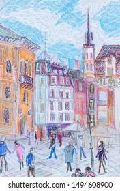 ancient centre of Riga, capital of Latvia, large square