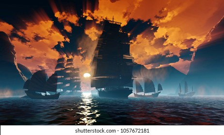 Ancient China. English ships near the coast. The times of opium wars. A sunny path through water through fog and time. Contrastive dramatic clouds. Sunrise. 3D rendering