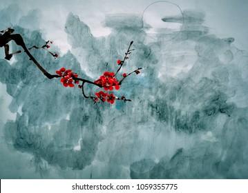 Ancient Chinese Traditional Brush Handmade Ink Painting -plum flower in the dark night
