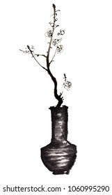 Ancient Chinese Traditional Brush Handmade Ink Painting -plum flower in the vase