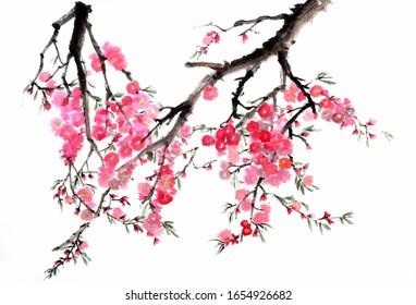 Ancient Chinese Traditional Brush Handmade Ink Cherry flower