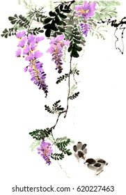 Ancient Chinese Traditional Brush Handmade Ink Painting -Wisteria and chicks