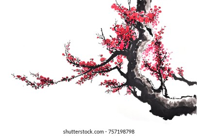 Ancient Chinese Traditional Brush Handmade Ink Painting -plum flower