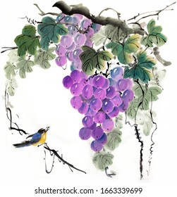 Ancient Chinese traditional hand brush and ink painting grape. Meaning: everything goes Good harvest