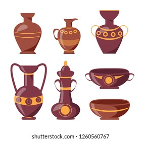 Ancient clay vases with ethnic ornaments isolated raster illustrations on white background. Polished antique vessels with patterns.