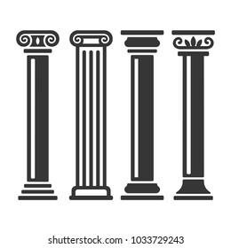 Ancient Columns Icon Set.
