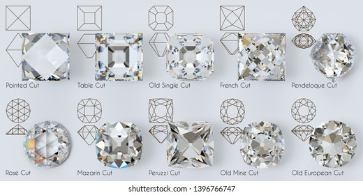 Ancient diamond cutting styles, front view, diagrams. titles on white background. 3D illustration