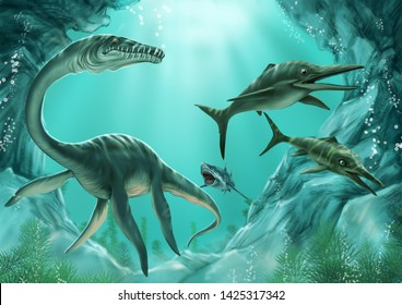 Ancient dinosaurs, pterosaurs, ichthyosaurs, ancient crocodiles and so on