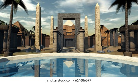 Ancient Egypt an oasis and archtecture in the dessert. 3D rendering
