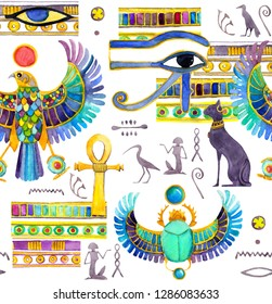 Ancient Egypt seamless pattern - mythological creatures from Egyptian mythology and religion, sacred animals, symbols. Cats, falcon, scarab beetle with wings, ankh, eye, others. Watercolor