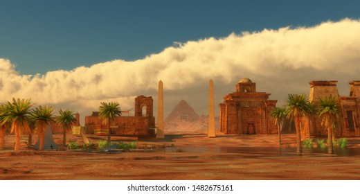 Ancient Egyptian City 3d illustration - A legendary Egyptian city in the desert next to the Nile river full of buildings and a pyramid.
