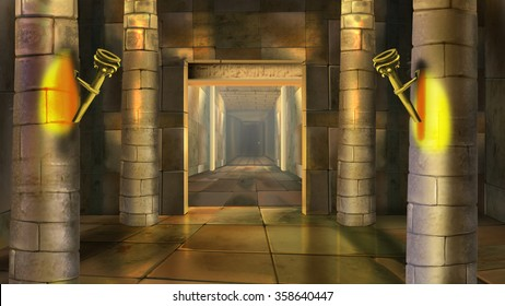 Ancient Egyptian temple interior. Image four