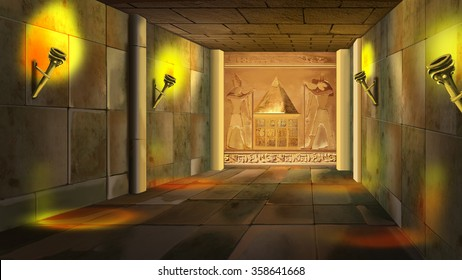 Ancient Egyptian temple interior. Image one