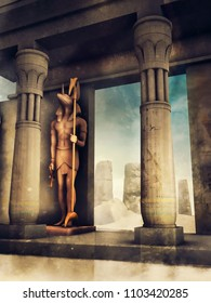 Ancient Egyptian temple with stone columns and a statue of the god Anubis. 3D illustration.