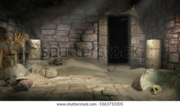 Ancient egyptian tomb with damaged columns and skull. 3D illustration.
