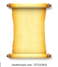 Ancient empty scroll. Torah unfurled with wooden handles. Torn piece of paper, ready for your message. Top view. Conceptual illustration. Isolated on white background. 3d render