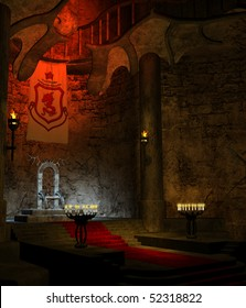 Ancient fantasy throne room with candles