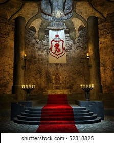 Ancient fantasy throne room with stone stairs