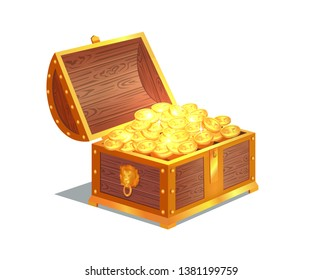 Ancient gold coins in heavy open wooden chest. precious treasure with star sign on it. heap of old metal money big solid chest raster illustration.