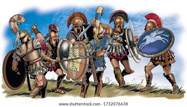 Ancient Greece - Fight of Athenian warriors against Spartans