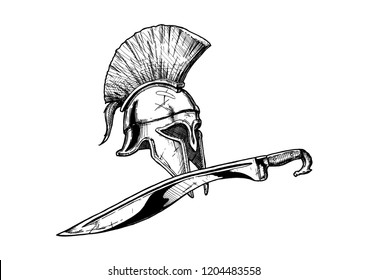 Ancient Greek Corinthian helmet and kopis sword - hoplite equipment. Hand drawn illustration in vintage engraved style. Isolated on white background.