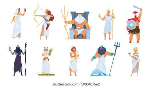 Ancient Greek gods. Cartoon cute legendary characters of ancient mythology.  male and female heroes mountain Olympus isolated on white set