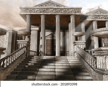 Ancient Greek temple with stairs and columns