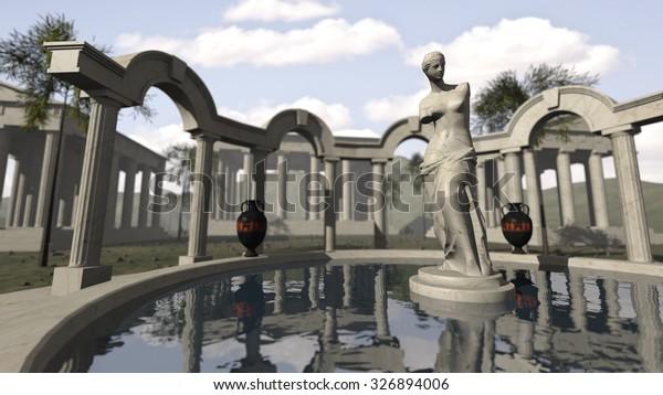Ancient greek temple and Venus of Milo. 3D rendering
